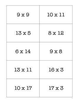 Multiplication Challenge Flash Cards