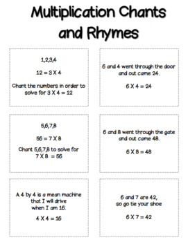 Multiplication Chants and Rhymes