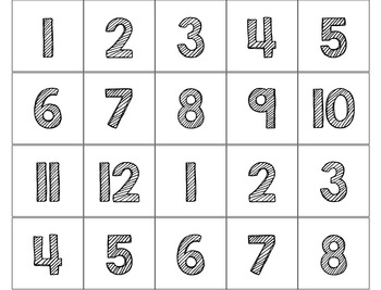 Multiplication Chart Numbers for Pocket Charts