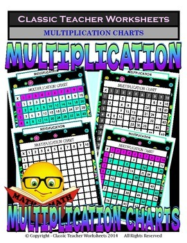 Multiplication Charts - Variety of Styles Complete/Missing Numbers/Blank
