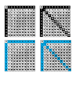 Multiplication Charts for Adhesive Square Label Pockets