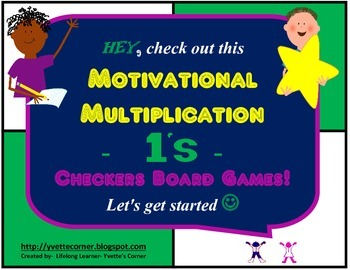 """1's Multiplication Checkers Games w/Quizzes etc. and """"Scaffolding Support"""""""