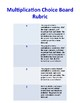 Multiplication Choice Board and Rubric