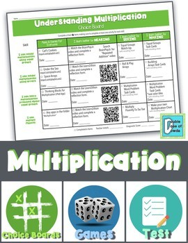 Multiplication Choice Board with Games and Test