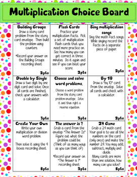 Multiplication Choice Board **Packed with Activities!
