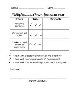 Multiplication Choice Board Rubric