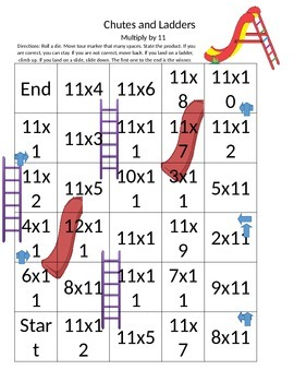 Multiplication- Chutes and Ladders by 11s
