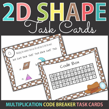 Multiplication Code Breaker Task Cards with Shapes