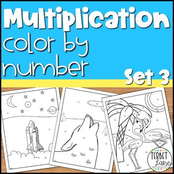 Multiplication Practice Math Activity Color By Number Sheets 1-12: Series 3