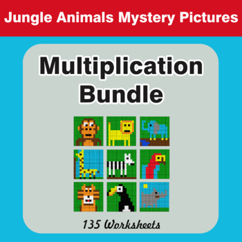 Multiplication - Color-By-Number Mystery Pictures Bundle