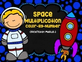 Multiplication Color-By-Number Space Themed