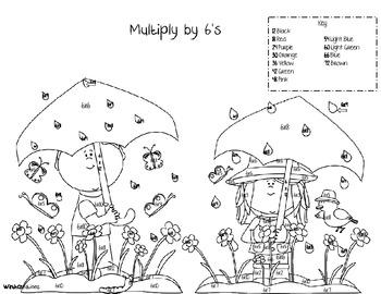 Multiplication Color By Number-Spring