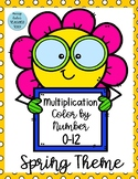 Multiplication Color By Number Spring Theme 0-12