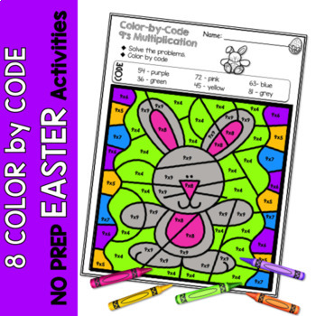 Multiplication Color by Code | {2's - 9's} {Easter}
