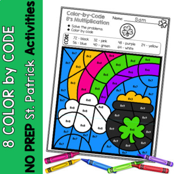 Multiplication Color by Code | {2's - 9's} {St. Patrick's Day}