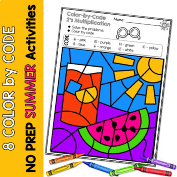 Multiplication Color by Code | {2's - 9's} {Summer}