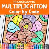 Multiplication Color by Code | {2's - 9's} {Thanksgiving}
