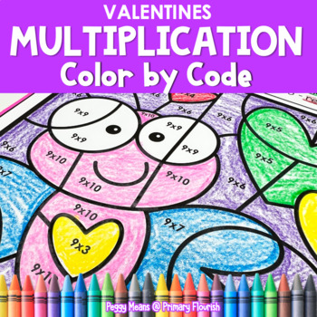 Multiplication Color by Code | {2's - 9's} { Valentine }