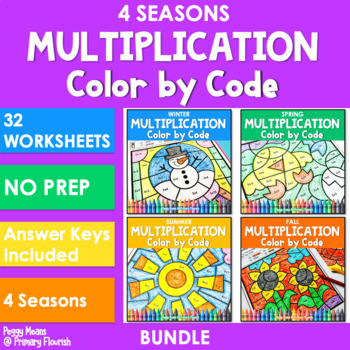 Multiplication Color by Code | Color by Number {2's - 9's} {BUNDLE}