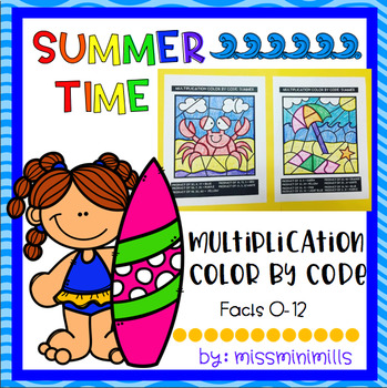 Multiplication Color by Code: Summer theme!