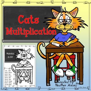 Multiplication Color by Number Cats
