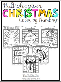 Multiplication Color By Number Christmas Themed Tpt
