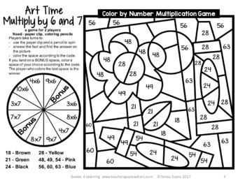 Multiplication Color by Number Game: Freebie Color by Number Multiplication Game
