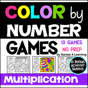 Multiplication Color by Number Games: 13 Color by Number Multiplication Games