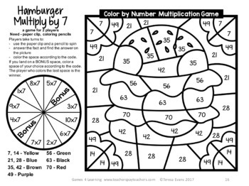 Multiplication Color by Number Multiplication Games for