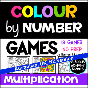 Multiplication Colour by Number Games [Australian UK NZ Canadian Version]