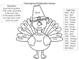 Multiplication Color by Number (Thanksgiving theme)