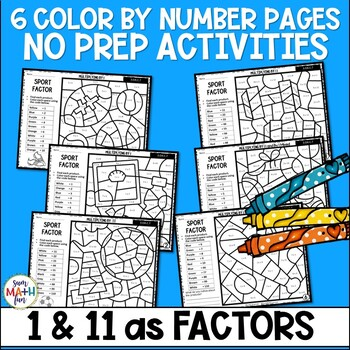 Multiplication Color by Number - Using 1 and 11 as Factors