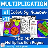 Multiplication Worksheets - Color by Number - Using 1 and 11 as Factors