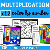 Multiplication Worksheets - Color by Number - Using 12 as a Factor