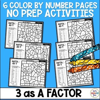 Multiplication Worksheets - Color by Number - Using 3 as a Factor