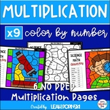 Multiplication Worksheets - Color by Number - Using 9 as a Factor