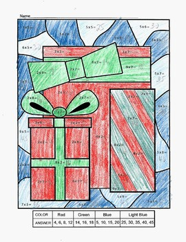 Multiplication Color by Numbers Christmas Gifts 2s and 5s Printable Worksheet