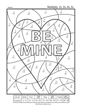 Valentines Day Color By Number Multiplication Worksheets