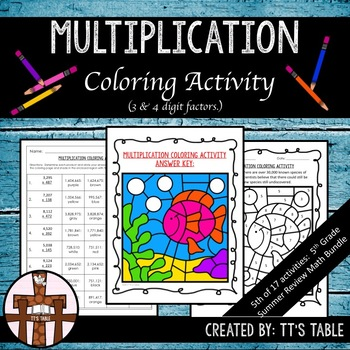 Multiplication Coloring Activity (3 & 4 Digit Factors)