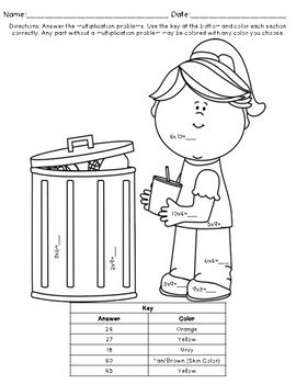 Multiplication Coloring Pages: Earth Day