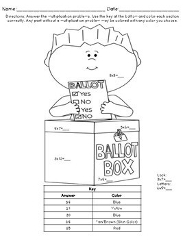 Multiplication Coloring Pages: Election Day