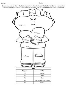 Multiplication Coloring Pages: Valentine's Day