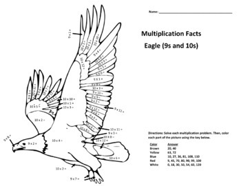 Multiplication Coloring Puzzles (9s & 10s Eagle, 11s & 12s Butterfly)