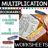 Multiplication Coloring Worksheets Designs Solve and Color Bookmarks