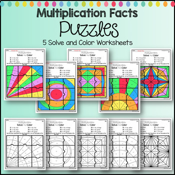Multiplication Coloring Worksheets Designs Solve and Color Puzzles