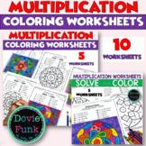 Multiplication Coloring Worksheets - Solve and Color Bundle