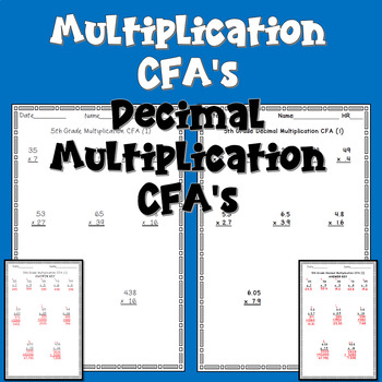 Multiplication Common Formative Assessment CFA's Decimal Multiplication