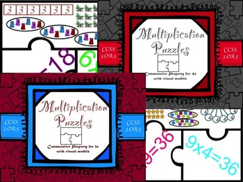 Multiplication Commutative Property for 3s and 4s with Visual Models