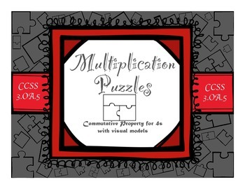Multiplication Commutative Property for 4s with Visual Models