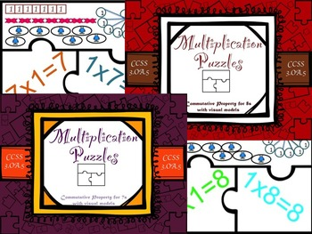 Multiplication Commutative Property for 7s and 8s with Visual Models